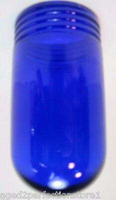 Old Cobalt Blue Glass Industrial Explosion Proof Color Light Lamp Shade screw on