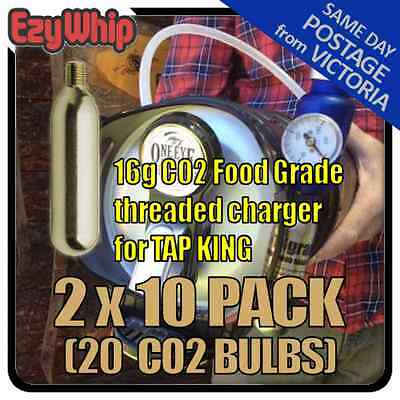 Threaded Beer Tap King Chargers 16G Cartridge X 20 Carbon Dioxide Bulbs Co2