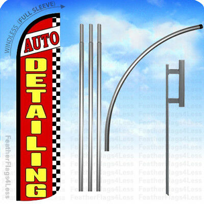 AUTO DETAILING Red Blue Windless Full Curve Top Advertising Banner Flag