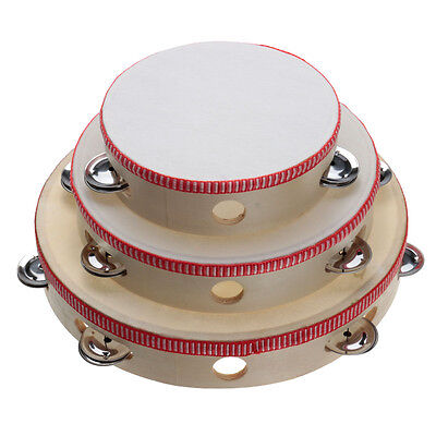 6/8/10'' Musical Tambourine Drum Round Percussion Festival Gift for KTV Party