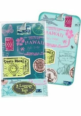 Pack of 2 Stamp Design Vintage Luggage Tags Travel Retro Holiday Accessory Label