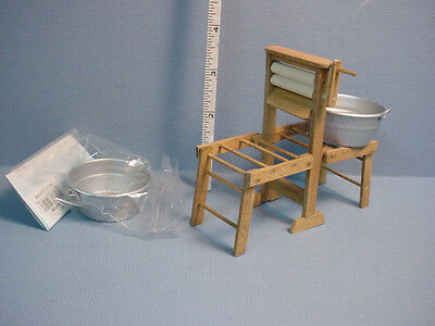 Miniature Folding Tub Holder wi Wringer & Tubs -  Handcrafted   B. Goldsberry