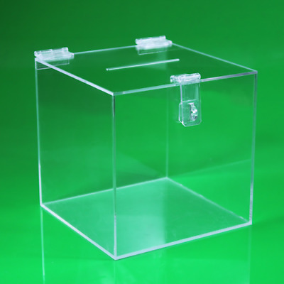 Suggestion / Collection / Ballot Box / Feedback Box Clear With Hasp & Staple