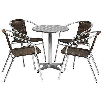 23.5'' Round Aluminum Indoor-Outdoor Table With 4 Rattan Chairs