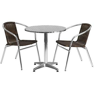 27.5'' Round Aluminum Indoor-Outdoor Table With 2 Rattan Chairs