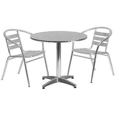 31.5'' Round Aluminum Indoor-Outdoor Table With 2 Slat Back Chairs