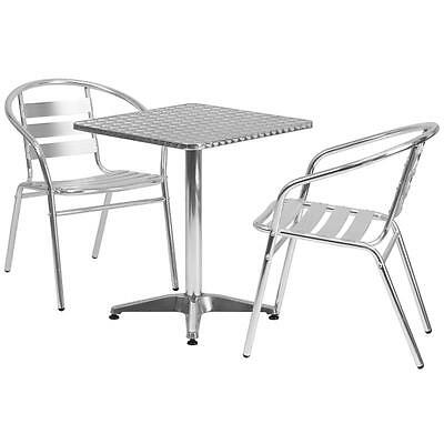 23.5'' Square Aluminum Indoor-Outdoor Table With 2 Slat Back Chairs