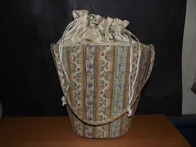 Longaberger Fabric Botanical Fields Tote Drawstring Purse