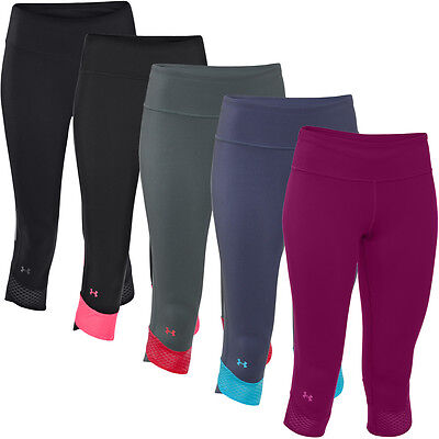 38% OFF RRP Under Armour Womens UA Fly-By Compression Capri Running Base Layer