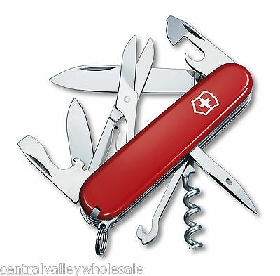 New Victorinox Swiss Army 91mm Knife  RED CLIMBER  & Leather  1.3703 .6
