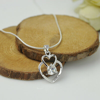 Fashion Women Double Heart 925 Sterling Silver Pendant Necklace Chain Jewelry D2