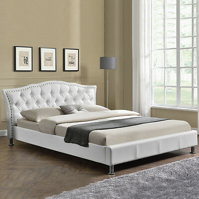 Luxury Modern Designer White Faux Leather Diamante Bed Frame Double King Size