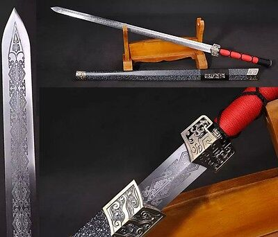 "Hand Forge Chinese Sword ""Han Jian""(劍) Alloy Fitting Carbon Steel Wood Sheath"