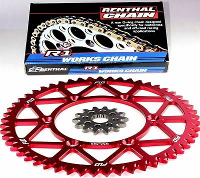 Flo Red Rear Sprocket 13/52T Combo Renthal R1 Chain Rmz250  Rm-Z 250 Rm125 125