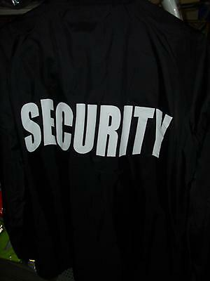 Black Lightweight Windbreaker Coach Jacket With Printed Security On Back