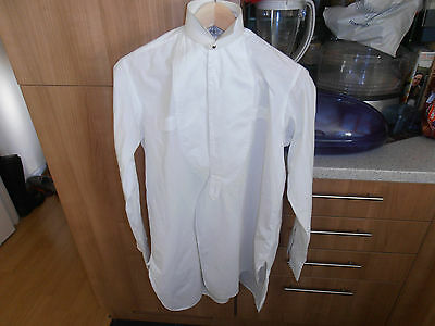 "Vtg INDEX  Collarless Plain Fronted Dress Shirt sz 14"" C/w collar & studs"