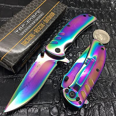 Tac Force Assisted Open Rainbow Ti-Coating Small Hunting Camping Pocket Knife