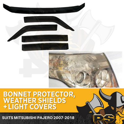 2007-2015 PAJERO SET OF BONNET PROTECTOR,WEATHER SHIELDS & headlight Covers