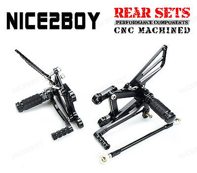 Black CNC Billet Racing Rearset Rear Sets For 03-04 Kawasaki Ninja ZX-6R ZX636