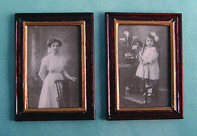 1:12 Scale 2 Victorian Pictures Prints In Frames Dolls House Miniature Paintings