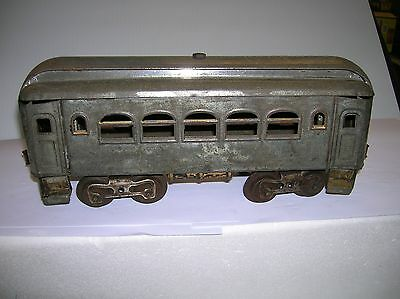 "Lionel Passenger  Car approx. 1912 plated 11""long wooden air tanks lot # 4588"