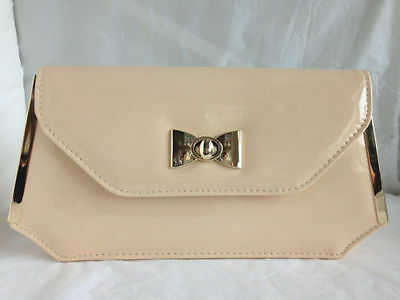 cd09d27960 New Nude Faux Patent Leather Evening Day Clutch Bag Wedding Prom Party  Shoulder