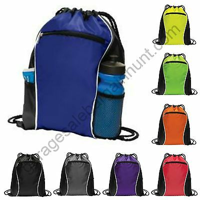 String Drawstring Backpack Cinch Sack Gym Tote Bag School Sport Pack