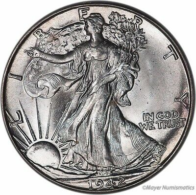 1942 50C Walking Liberty Half Dollar (RAW) Choice BU - Brilliant Uncirculated