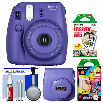 Fujifilm Instax Mini 8 Instant Film Camera Grape with Film & Case Kit