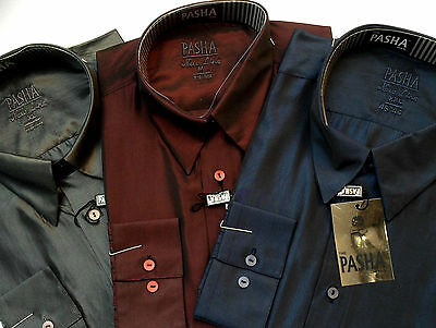 The Pasha Man Mens Business Shirt Silky New Line Long Sleeve Corporate Formal