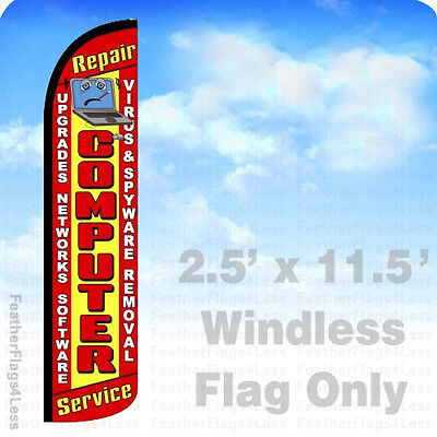 COMPUTER REPAIR SERVICE - WINDLESS Swooper Feather Flag 2.5x11.5' Sign - rz