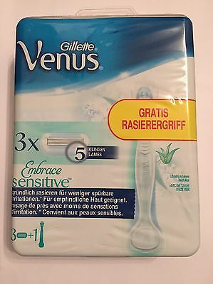 Gillette for Women Venus Embrace Sensitive Einsteigerpack Rasierer + 3x Klingen
