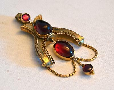 19th Century Victorian Garnet and 14k Gold Pendant Mourning Jewelry