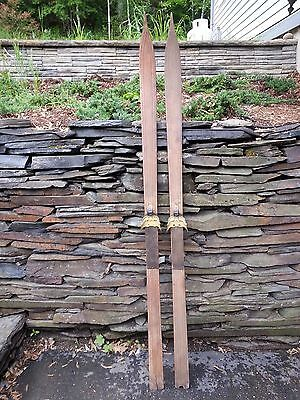 """OLD Set of Wooden 71"""" Long Skis with POINTED Tips + Interesting Character to Ski"""