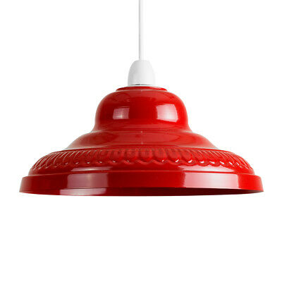 Vintage Retro Red Metal Ceiling Pendant Light Lamp Shade Lampshade Lights NEW