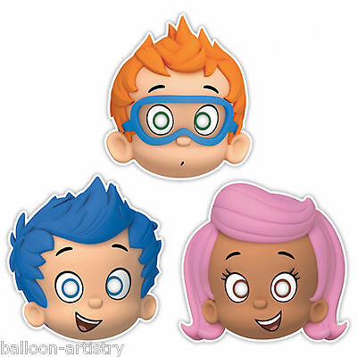 8 Bubble Guppies Children's Birthday Party Paper Card Face Masks