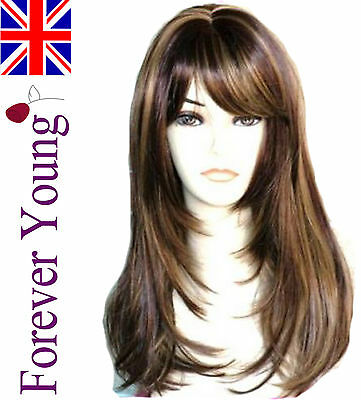 Ladies Long Blonde Wig Brown Blonde 2 Tone Mix Fashion Wig Face Frame Style.