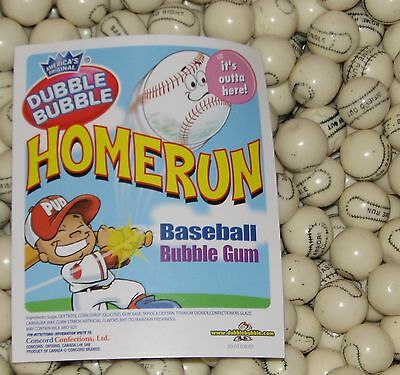 Dubble Bubble  BASEBALL HOME RUN 1/2 pound  bulk bag 1 inch gumballs Approx 28