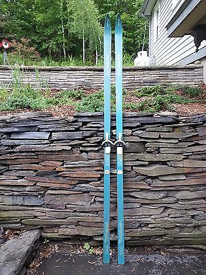 """Vintage Wooden Skis 83"""" Long with Original Turquoise Finish and Bindings"""