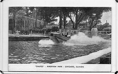 "Vintage B&w The ""chutes"" Ride Riverview Park-Chicago,il"