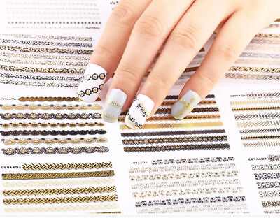 12 Sheets 3D Silver Gold Nail Art Stickers Decals DIY Manicure Decoration Tools