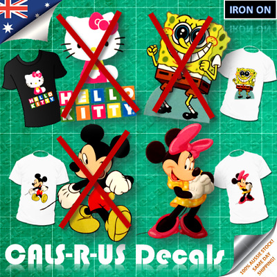 IRON ON TRANSFER Minnie Mickey Mouse Spongebob Hello Kitty T-Shirt Patch Decal