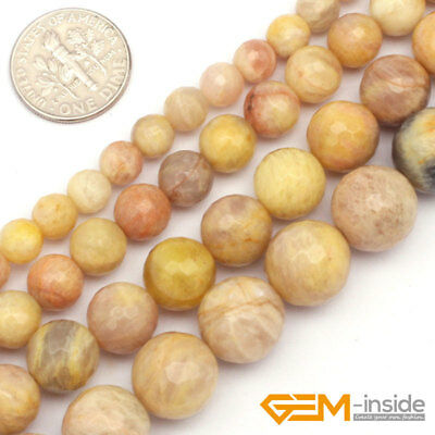 """Yellow Sun Stone Gemstone Faceted Round Loose Beads For Jewelry Making 15"""" YB"""