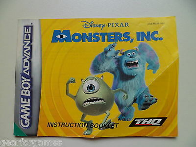 Gameboy Advance Original Monster Inc Manual Instructions