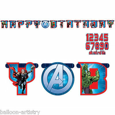 Marvel's AVENGERS HEROES Children's Party Add An Age Birthday Letter Banner