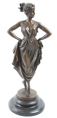Hot Cast Bronze Scupture Lady Dancer Hand On Hips On Marble Base Antonio Canova