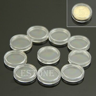 10 PCS Applied Clear Round Cases Coin Storage Capsules Holder Round Plastic 19mm