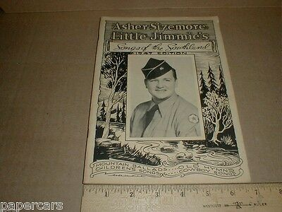 Vintage 1947 Asher Jimmie Sizemore Rushville IN Song Book RARE Grand Ole Opry