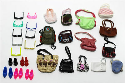 8 items=4 x Fashion Bags+2 paris glass+2 pairs shoes For 11.5in.Doll Accessories