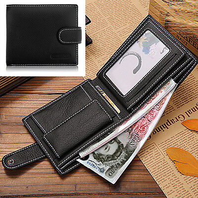 Mens Luxury Soft Quality Leather Bifold Wallet Credit Card Holder Purse Black